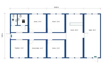Eksempel på layout af en pavillon indrettet til kontor